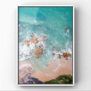 Aerial view sea ocean beach sand photo art prints